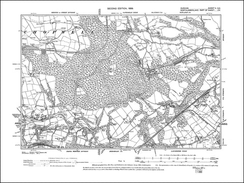 DURHAM 05SE : Old map of Chopwell, Victoria Garesfield Colliery, Lintzford in 1899