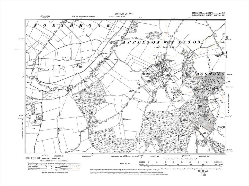 Appleton, old map Berkshire 1914: 5SE
