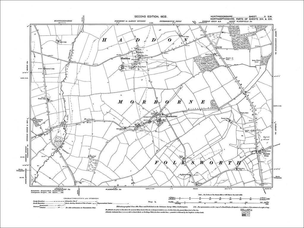 HUNTINGDONSHIRE 05SW : Old map of Haddon, Morborne in 1902