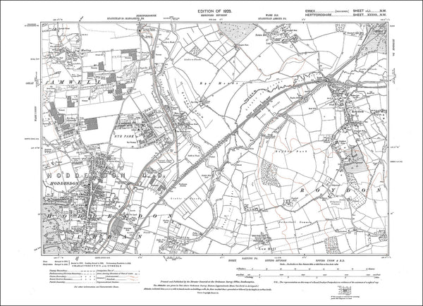 old map of roydon  with hoddesdon  herts   essex 1923