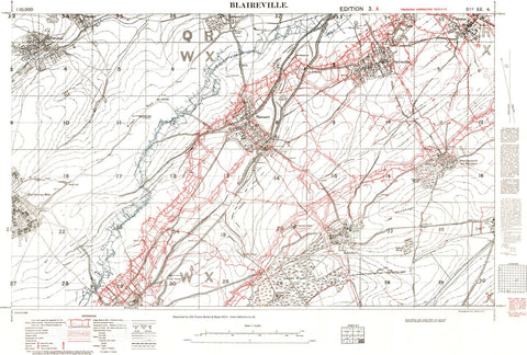 British Trench map of the Blaireville area, France, February 1917