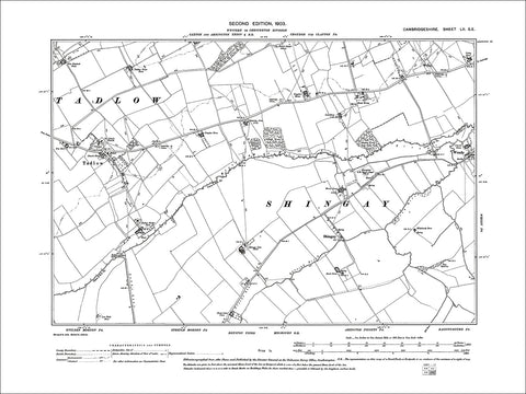 Tadlow, Shingay, old map Cambs 1903: 52SE