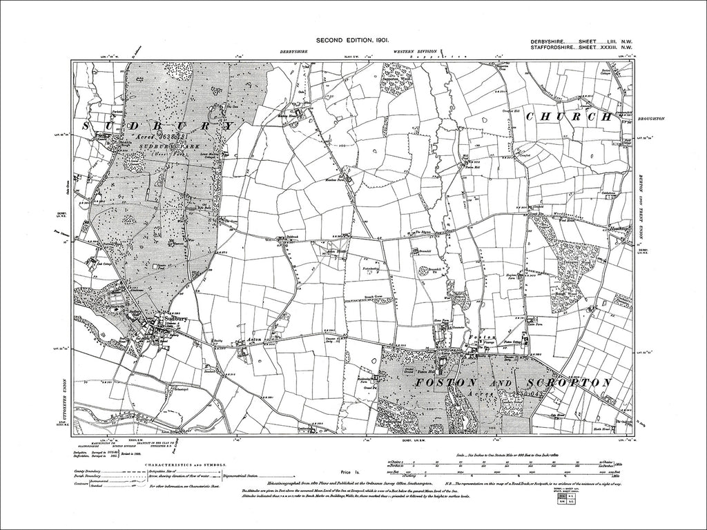 Sudbury, Old Map Derbyshire 1901: 53NW