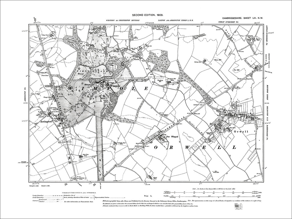 Arrington, Orwell, Wimpole, old map Cambs 1903: 53NW