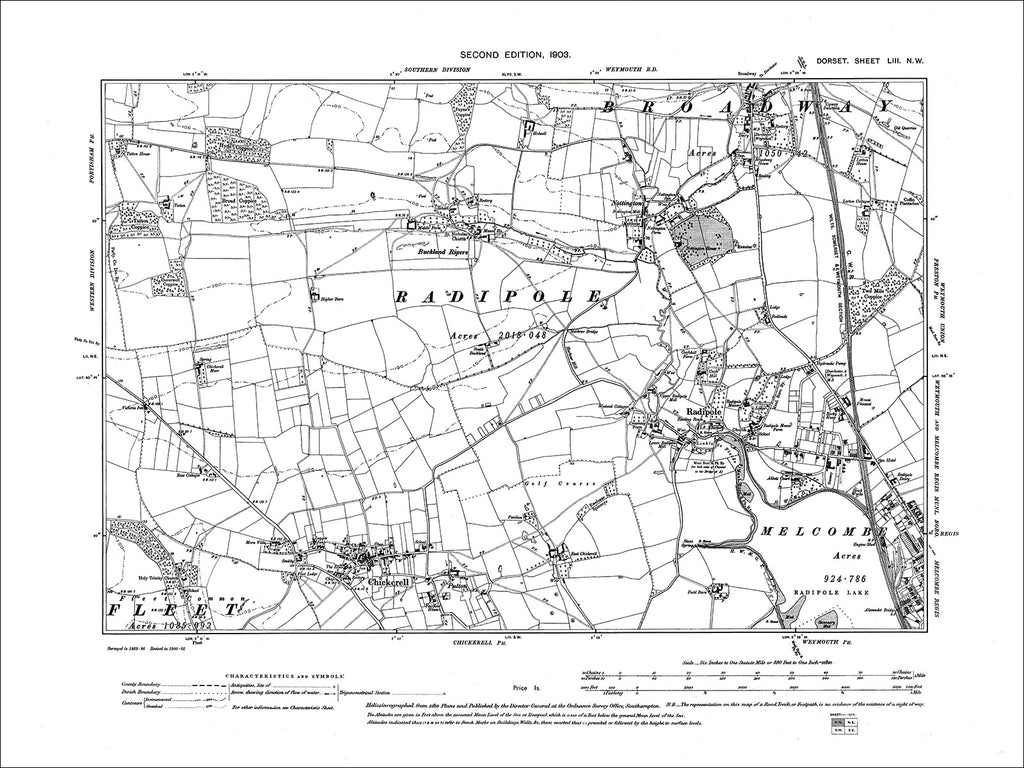 Dorset sheet 53NW - old map of Radipole, Chickerell in 1903