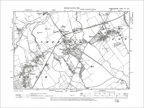 Foxton, Meldreth, Shepreth, old map Cambs 1903: 53SE