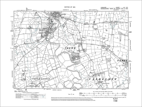 Farndon (S), Crewe, old map Cheshire 1913: 53SE