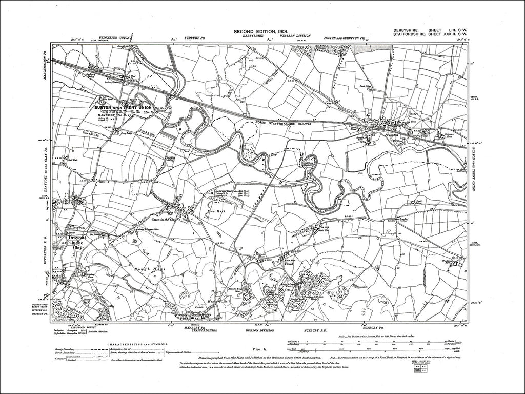 Scropton, Old Map Derbyshire 1901: 53SW