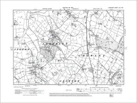 Coddington, Handley, Aldersley, Chowley, old map Cheshire 1912: 54NW