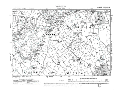 Bickerton, Bulkley (S), old map Cheshire 1912: 54SE