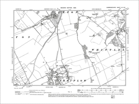 Whittlesford (W), Newton, Thriplow, old map Cambs 1903: 54SW