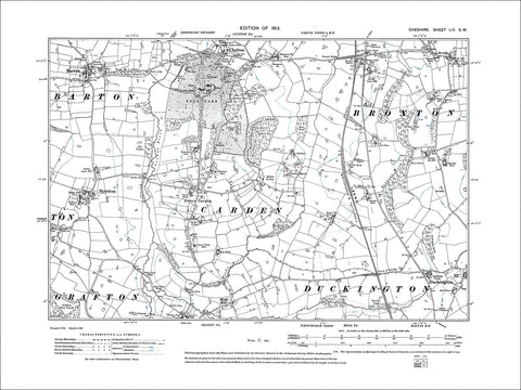 Barton, Clutton, Stretton, Broxton, old map Cheshire 1913: 54SW