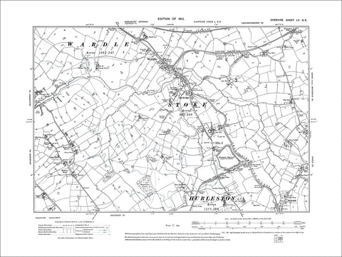 Wardle, Stoke, Barbridge, old map Cheshire 1912: 55NE