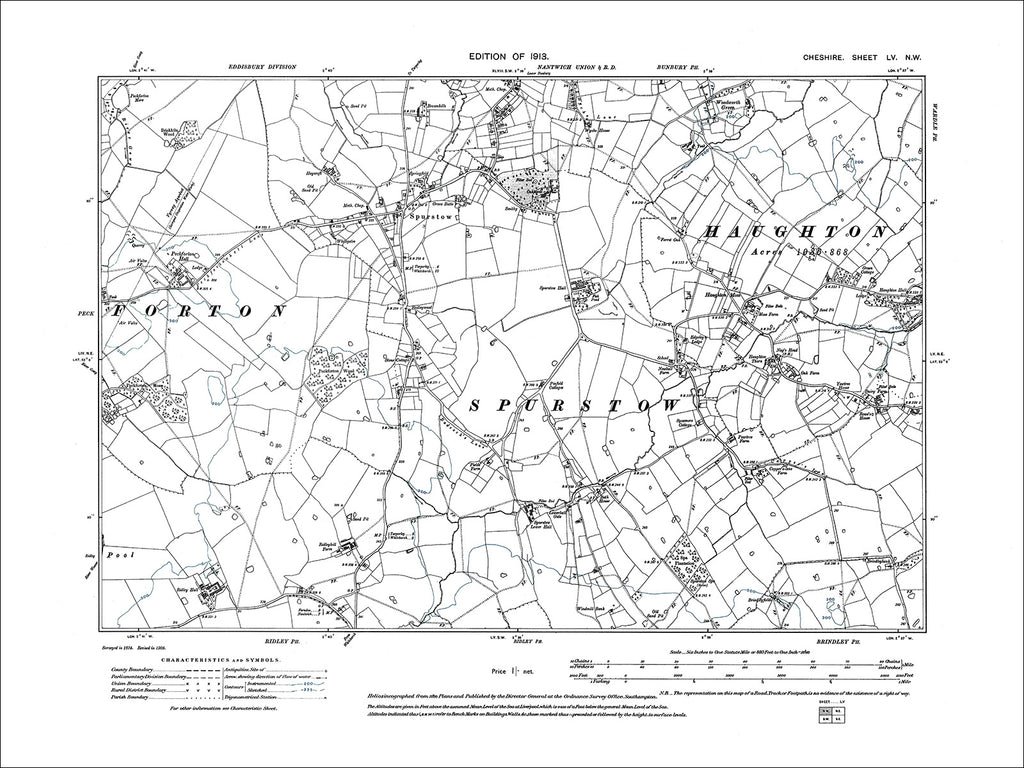 Spurstow, Haughton (W), old map Cheshire 1913: 55NW