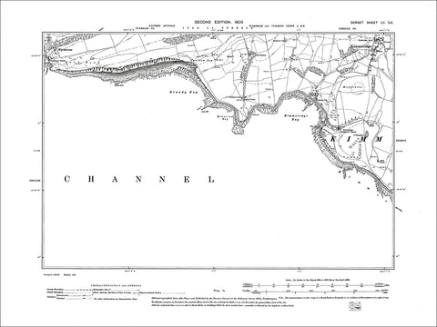 Dorset sheet 55SE - old map of Langton Matravers, Worth Matravers in 1902