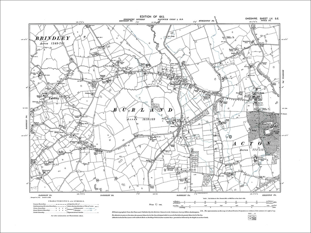 Acton, Burland, Faddiley, old map Cheshire 1912: 55SE