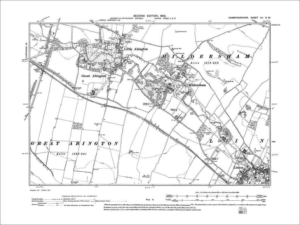 Abington, Hildersham, Linton (NW), old map Cambs 1903: 55SW
