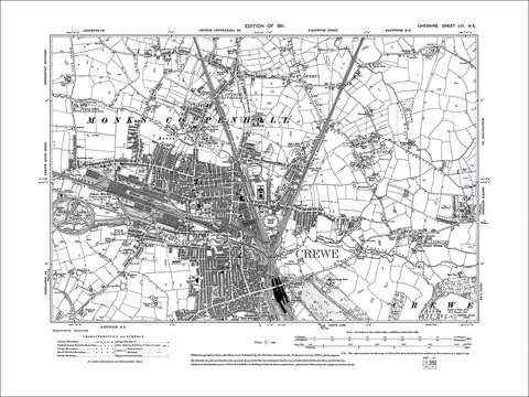 Crewe, old map Cheshire 1911: 56NE