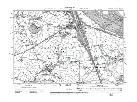 Crewe (S), Shavington, Weston, old map Cheshire 1911: 56SE