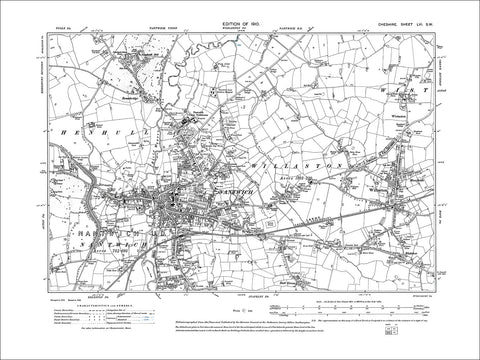 Nantwich, Willaston, Wistaston, old map Cheshire 1910: 56SW