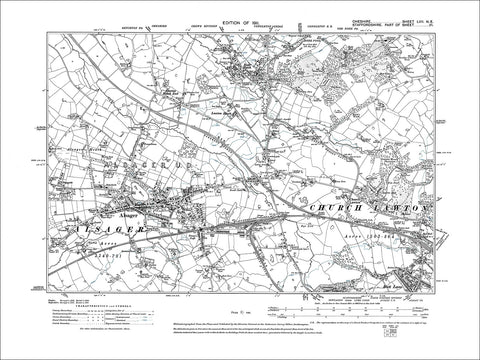 Alsager, Rode Heath, old map Cheshire 1911: 57NE