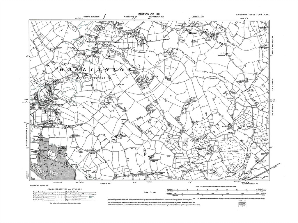 Haslington, Hassall, Wheelock (S), old map Cheshire 1911: 57NW