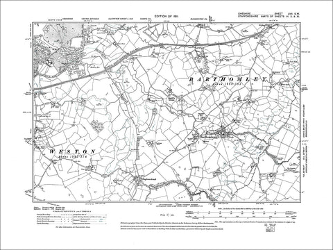 Barthomley, old map Cheshire 1911: 57SW