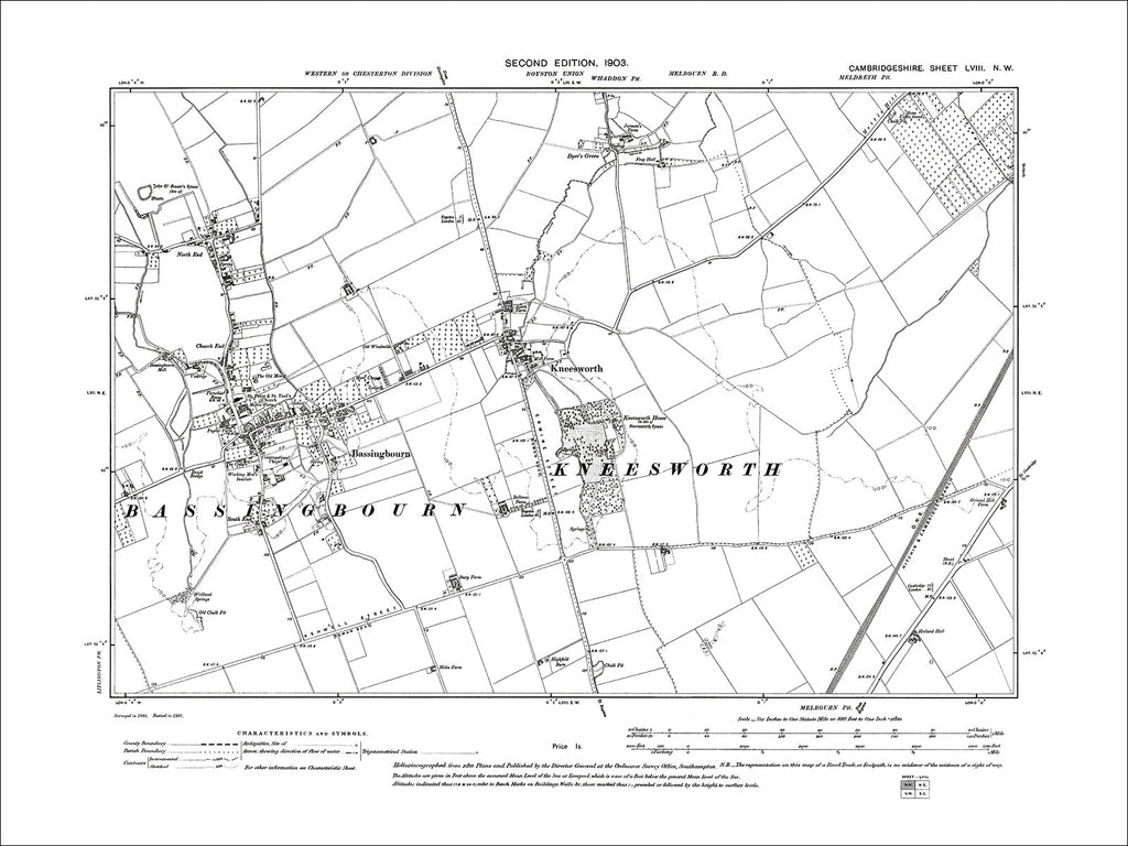 Bassingbourn, Kneesworth, old map Cambs 1903: 58NW