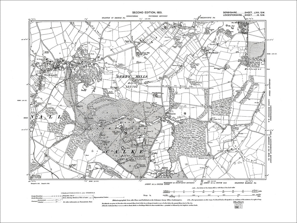 Melbourne (S), Ticknall, Old Map Derbyshire 1901: 58SW