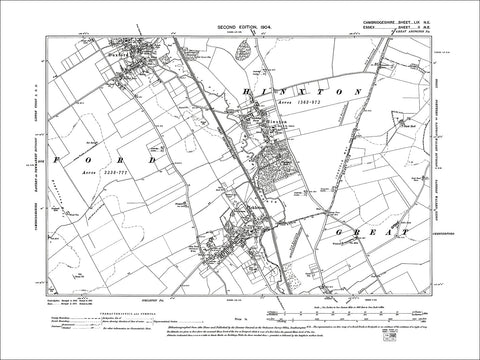 Duxford (S), Hinxton, Ickleton, old map Cambs 1904: 59NE