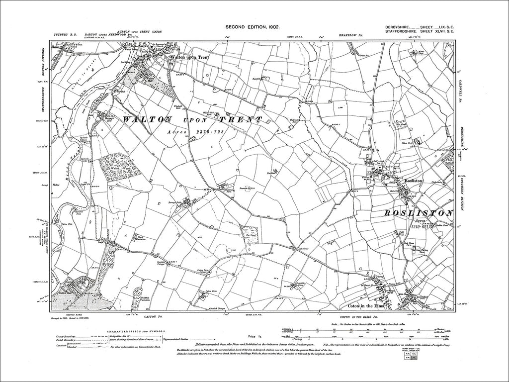 Walton upon Trent, Rosliston, Old Map Derbyshire 1901: 59SE