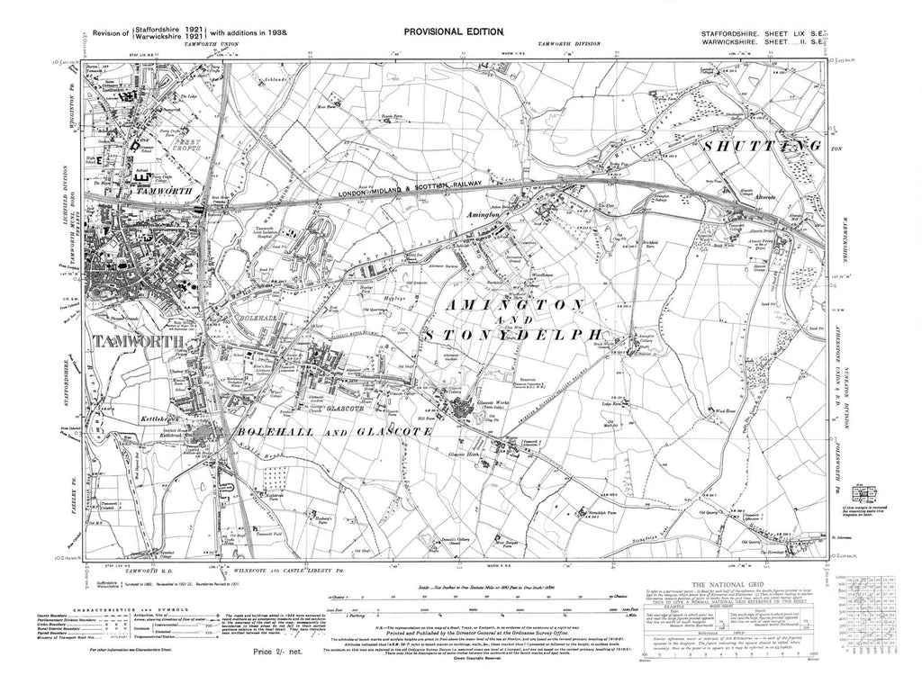 Tamworth, Amington, Alvecote, Glascote, Staffordshire in 1938 (59 SE)