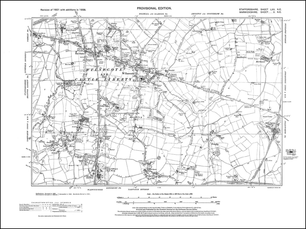 Wilnecote, Dosthill, Whateley, Freasley, Birchmoor in 1938 (5NE)