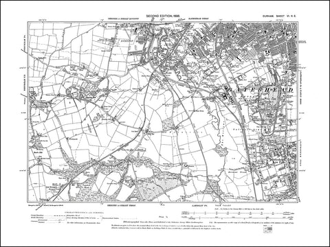 DURHAM 06NE : Old map of Gateshead (southwest), Gateshead Low Fells in 1898