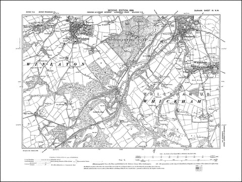 DURHAM 06NW : Old map of Winlaton, Swalwell, Whickham in 1898