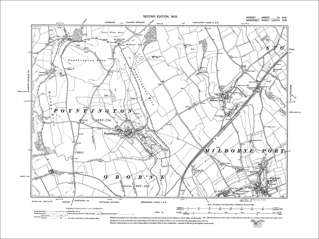 Dorset sheet 06NW - old map of Poyntington in 1903