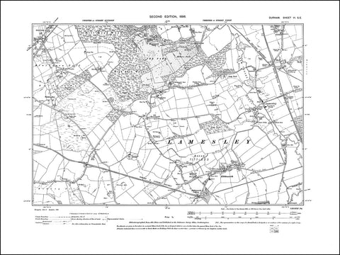 DURHAM 06SE : Old map of Lamesley, Kibblesworth, Ravensworth Castle in 1898