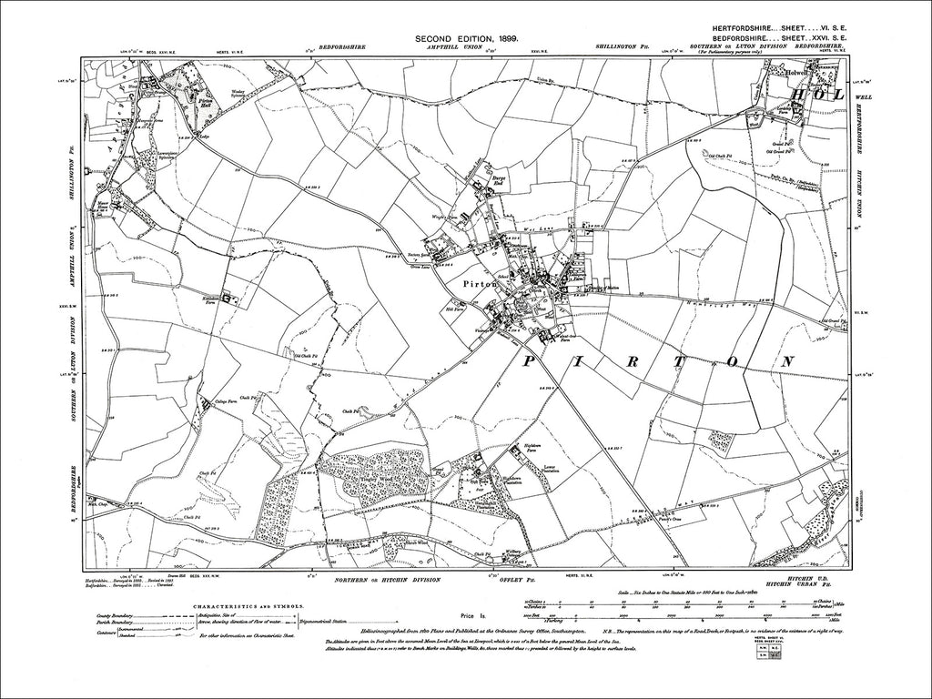 HERTFORDSHIRE 06SE : Old map of Pirton in 1899