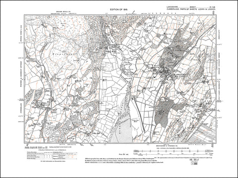 LANCASHIRE 06SE : old map of Broughton in Furness, in 1919