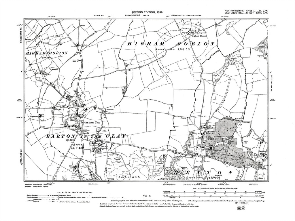 HERTFORDSHIRE 06SW : Old map of Hexton in 1899