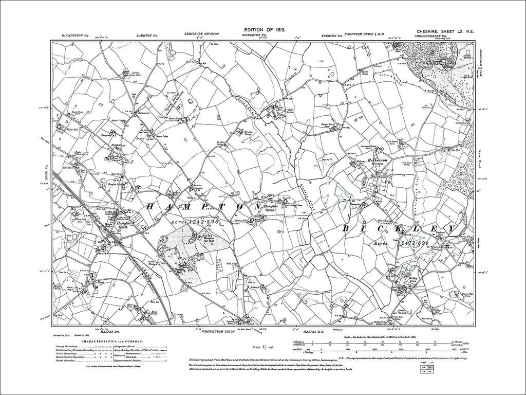 Hampton Green, Hampton Heath, old map Cheshire 1913: 60NE