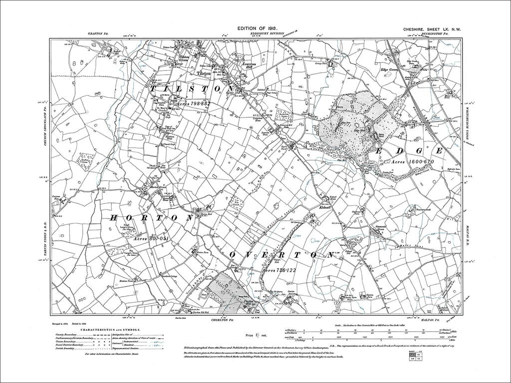 Tilston, Horton Green, old map Cheshire 1913: 60NW