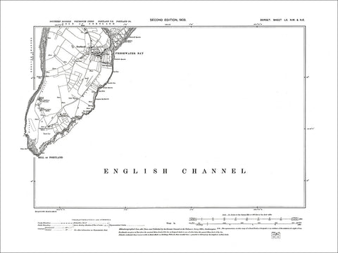Dorset sheet 60NW-NE - old map of Freshwater Bay, Southwell in 1903