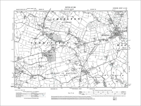 Malpas, Cuddington Heath, Chorlton Lane, old map Cheshire 1913: 60SW