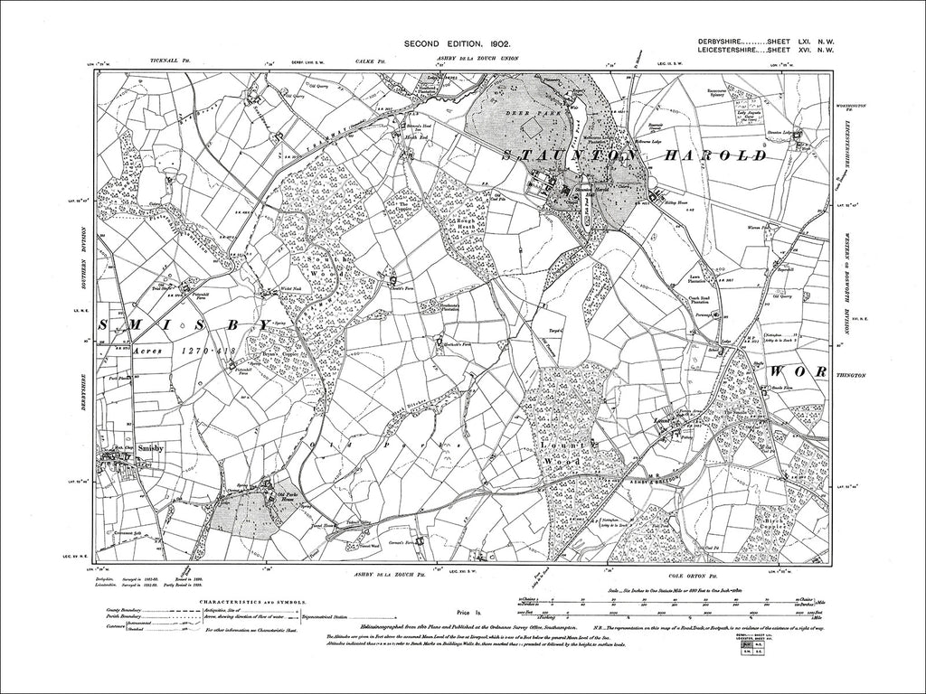 Smisby, Old Map Derbyshire 1901: 61NW