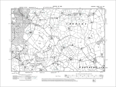 Bickley Moss, Norbury Common, Chorley, old map Cheshire 1912: 61NW