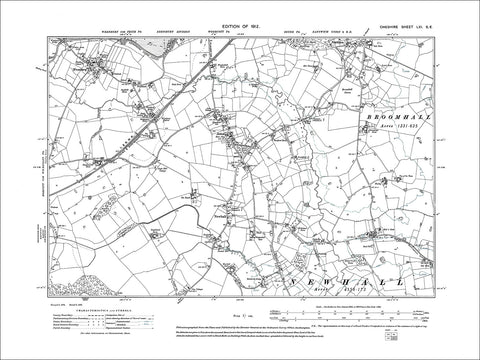 Wrenbury, Aston, Newhall, old map Cheshire 1912: 61SE