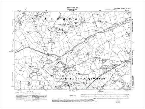 Norbury, Marbury, old map Cheshire 1913: 61SW