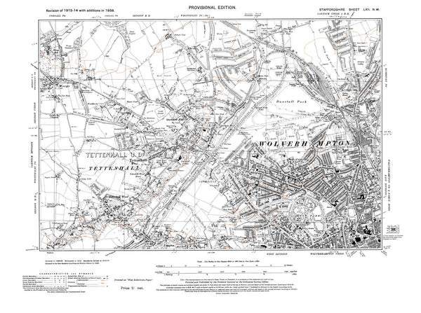 old map of wolverhampton  nw   tettenhall  staffordshire