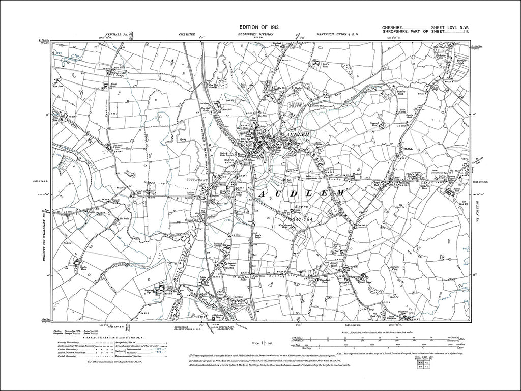 Audlem, old map Cheshire 1912: 66NW